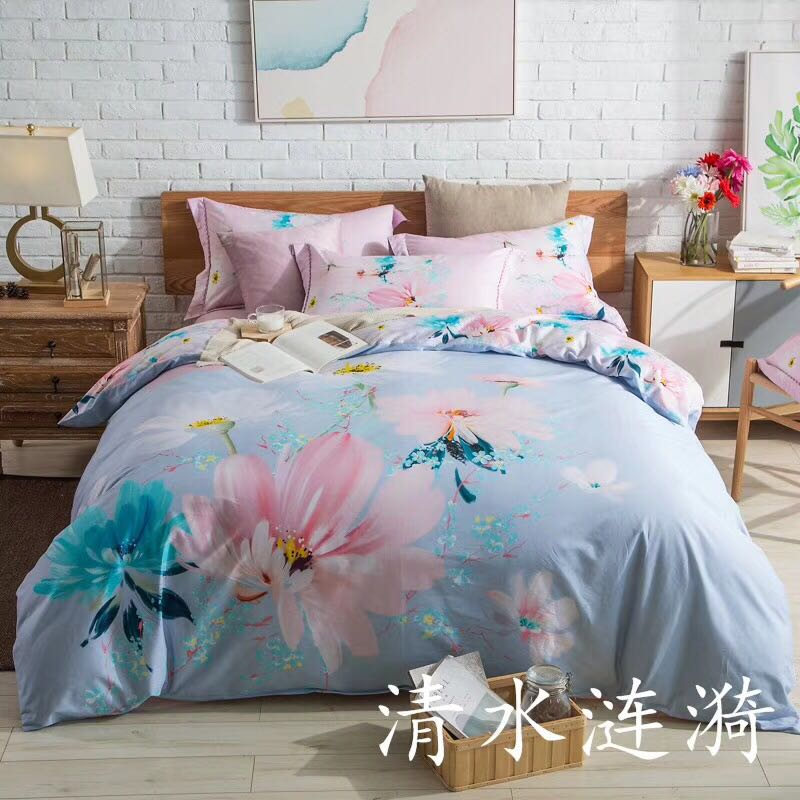 简约大气欧式纯棉大版花春季夏天秋天冬季床上用品四