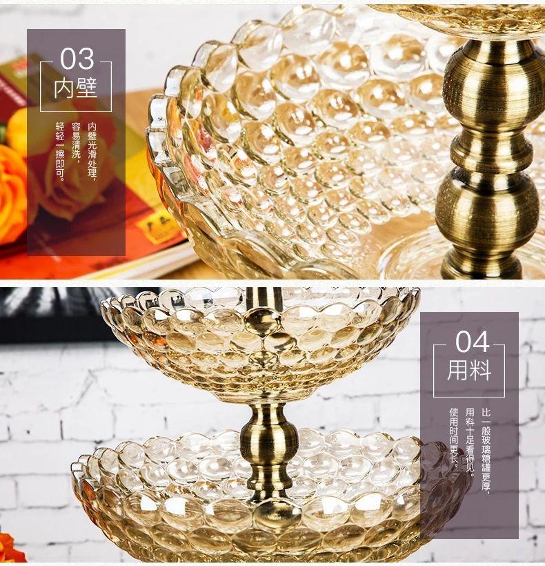 奢华欧式双层玻璃果盘珠点高档家用客厅大号水果盘糖