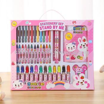 2018文具套装礼盒绘画文具套装蜡笔水彩笔铅笔图案定制批发