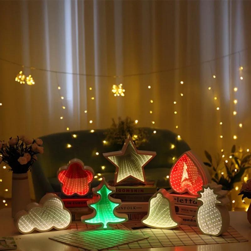 creative cloud five star christmas tree love bell tunnel lamp