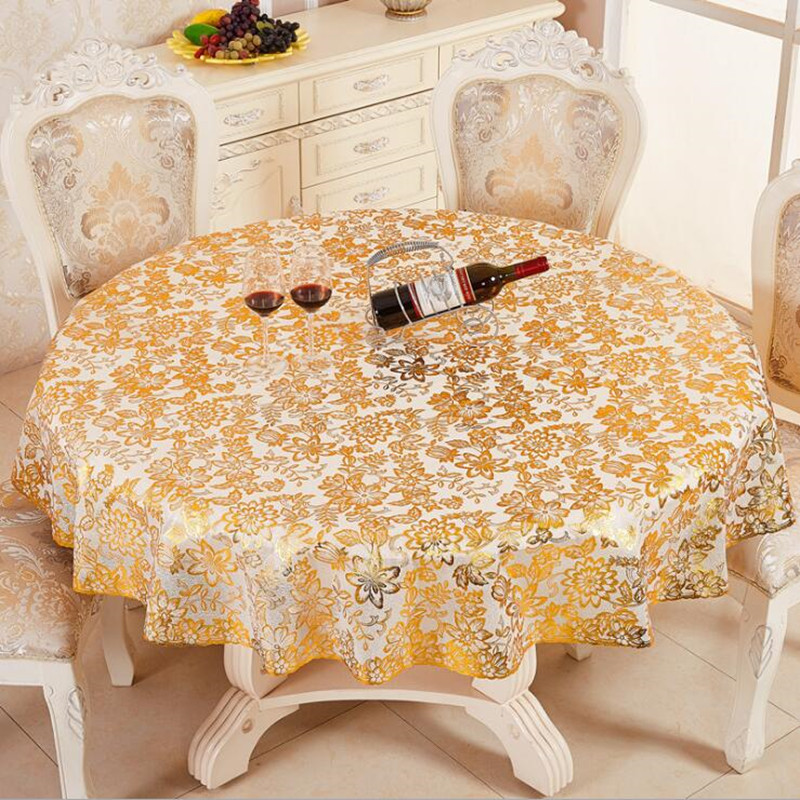 Supply European Style Circular Tablecloth Hotel Hot Stamping PVC Round  Table Cloth Waterproof Anti Skid.