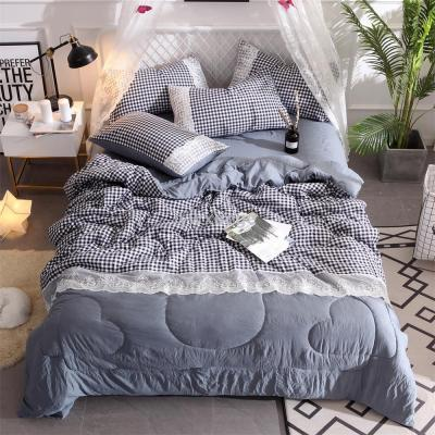 Yarn-dyed washed cotton summer quilt four-piece lace Korean edition is quilted by four-piece quilted summer quilt.