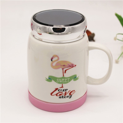 Creative large capacity cartoon mirror ceramic cup anti-slip cover with handle water cup office coffee cup wholesale.