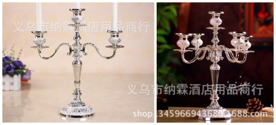 Three head candlestick luxurious silver - plated silver metal alloy furniture hotel KTV classic style.