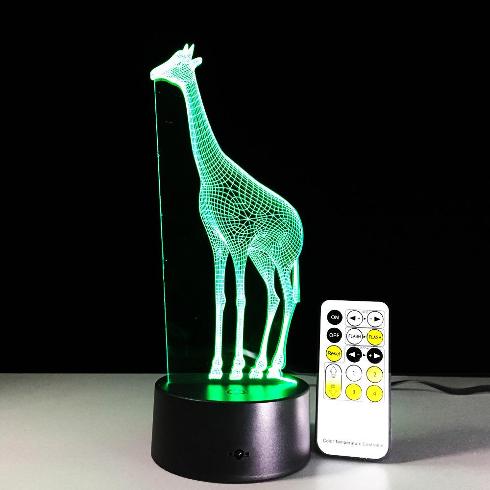 长颈鹿2 3d灯 遥控七彩触控led视觉灯 创意礼品台灯347