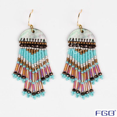 Fashionable element beautiful and beautiful female style glass bead earring.