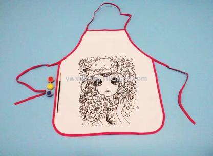 填色儿童围裙 配三色颜料带笔 手工制作涂色绘画材料
