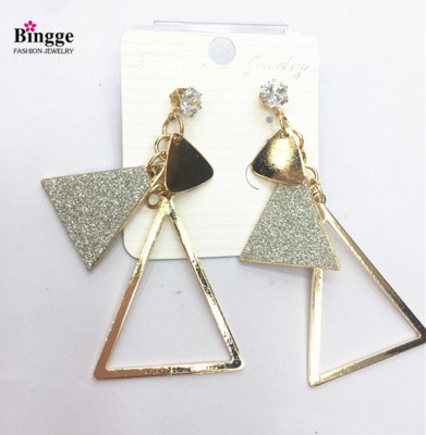 New metal iron plate electroplated triangle sticker earrings earrings.