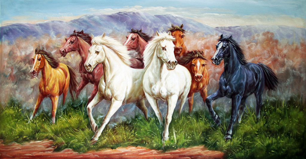 Supply Eight Fine Horse High Definition Oil Painting Export Canvas - Painting definition
