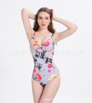 泳衣欧美外贸新款连体泳衣 水墨画印花比基尼L168862