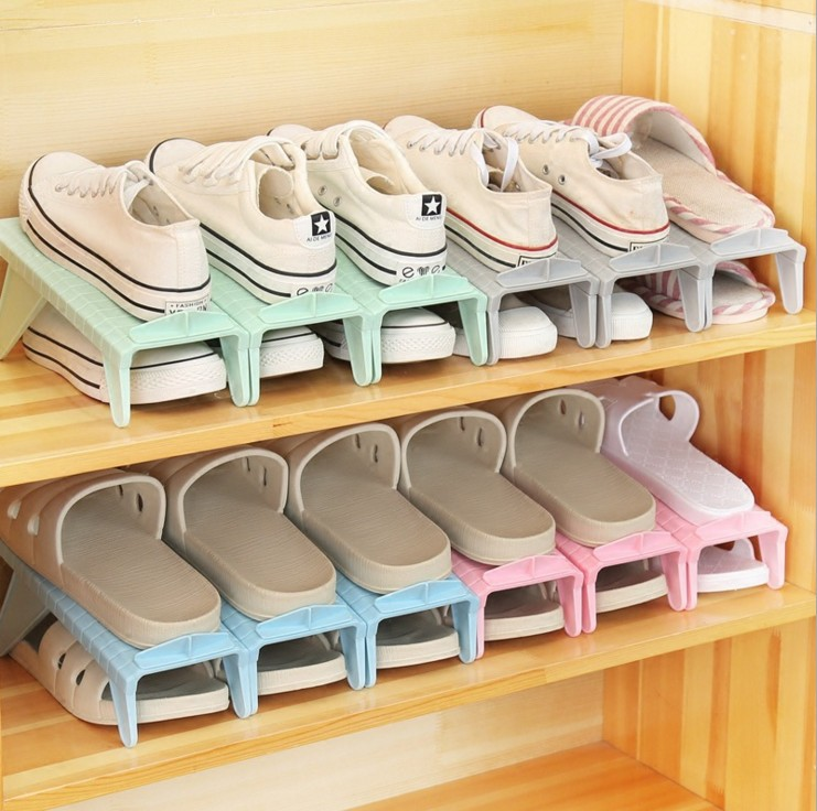 Simple Shoe Rack PP Plastic Height Adjustable Shoe Rack Free Combination  Removable Shoe Bracket