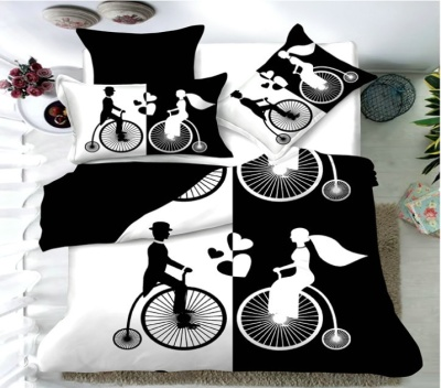 Simple personality modern wind black and white active printing four-piece bedding set