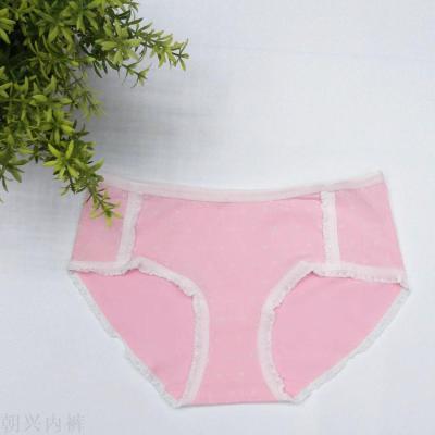 New popular girls low - waist cotton snow flower lace triangle underwear soft breathable