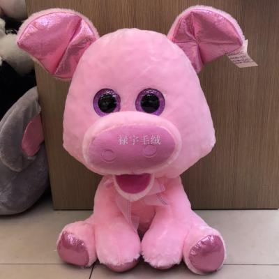 American and European new TY big eye pink pig, cow, cow, elephant, hippopotamus doll plush toy LED colorful light