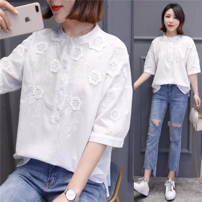 Artistic white cotton shirting women's hollow-out embroidered five-cent sleeve shirt with 100 pieces of blouse 2018