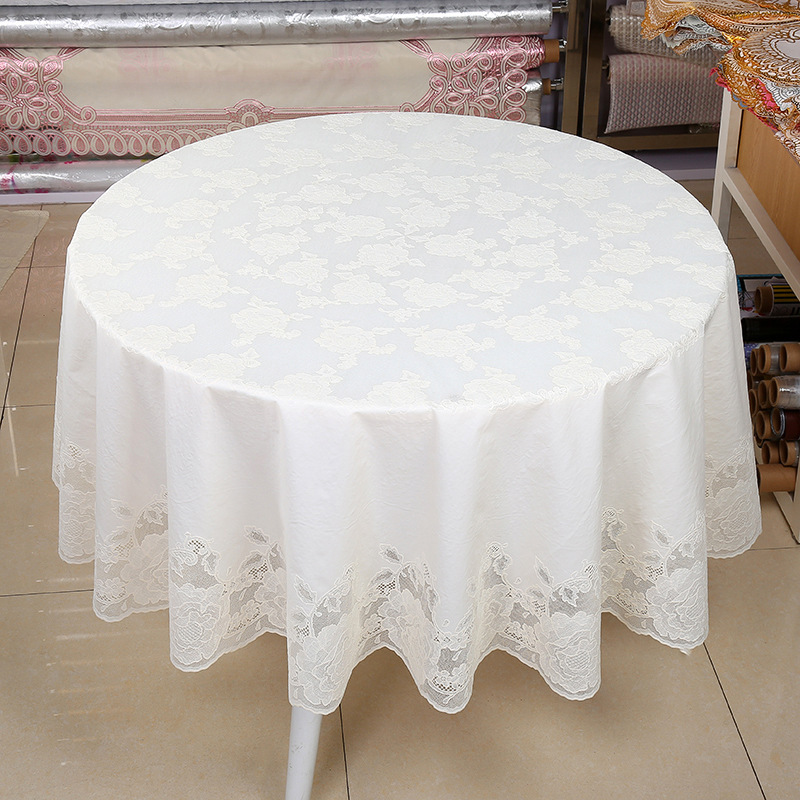 The Daily Practical Round Tablecloth PVC Waterproof Dust Proof Restaurant  And Restaurant Household Circular Tablecloth