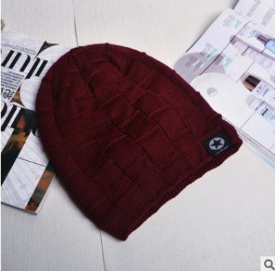 Korean version winter men  s hat tide double layer with fleece ear wool  knitted hat f0a1c86b31fb