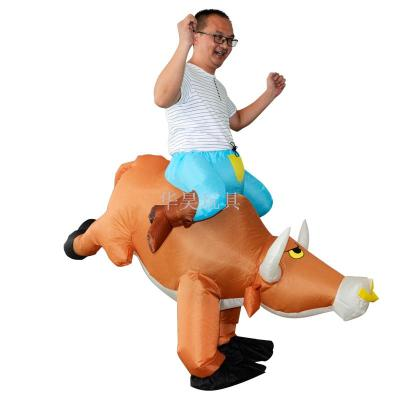 Inflatable costumes in the shape of bulls are popular on Halloween