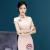 Women's dress 2018 spring and summer new pink face temperament girl's small fresh cheongsam