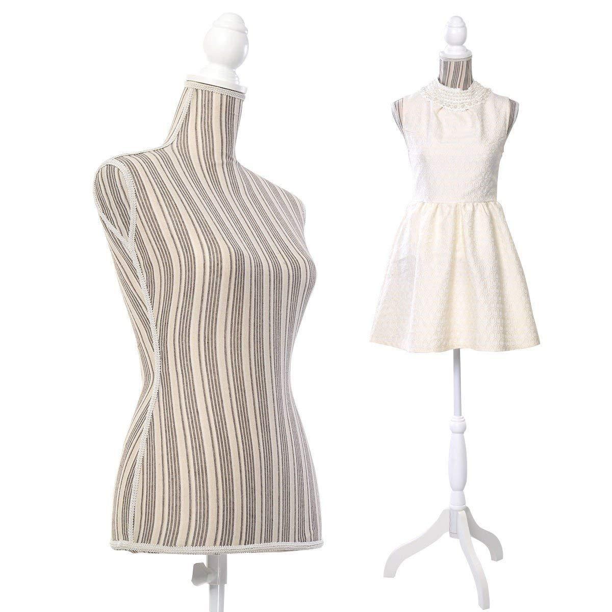 Adjustable Female Mannequin Torso Dress Form Display w// Tripod Stand Styrofoam