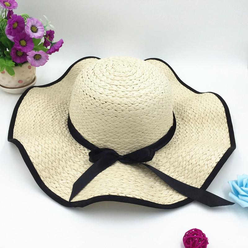 9b7f74d5a79 Korea female style bow outdoor summer sun block sunshade beach hat fashion  straw hat hats and