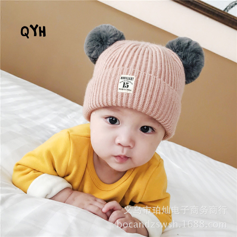 a2fcc385979 Children s wool knitted hat hair ball cap baby warm hat baby cute ball ball  ear protection
