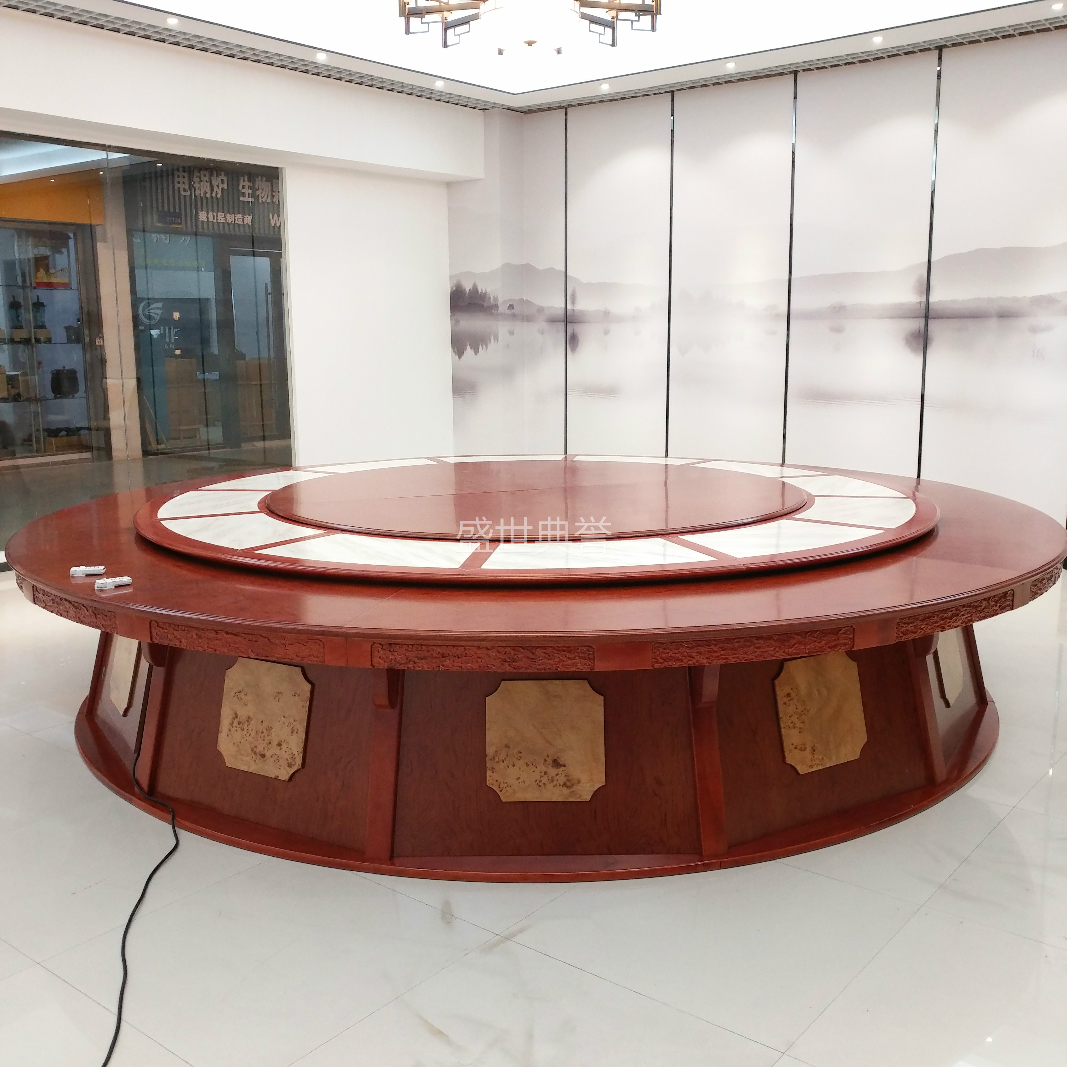 Shanghai Hotel Box Solid Wood Electric Round Table New Chinese Style Solid  Wood Marble Dining Chair