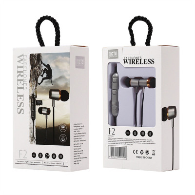 New F2 bluetooth sports headset with plug-in card bluetooth mobile magnetic absorption earphone into ear