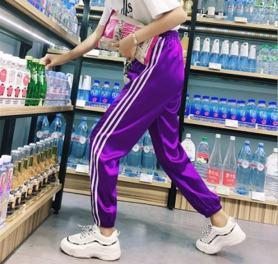 The stripe sports pants autumn little girl student originally the breeze BT loose tide school uniform bundle foot