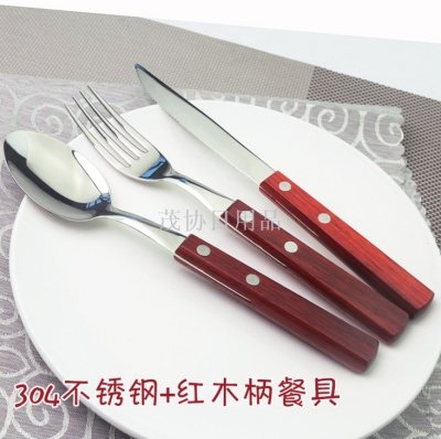 Red wooden handle steak knife fork fruit fork dessert spoon western restaurant knife fork spoon set 304 stainless steel