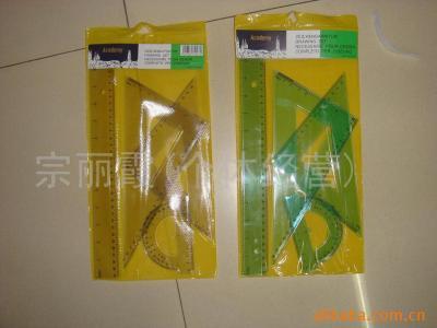 Manufacturer direct selling students drawing transparent ruler set 4 sets of 30cmPVC color ruler wholesale sets