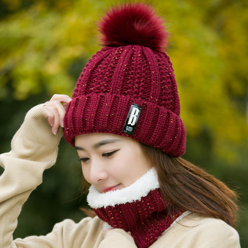 e7d1d59177677 Supply Hat girl winter tide add wool cap Korean version of the young ...