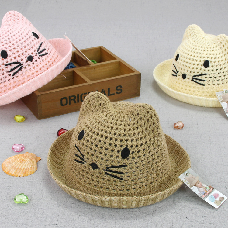 Supply Three dimensional Kitty children\'s basin cap net hollow out ...