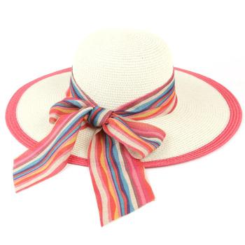 厂家直销 时尚遮阳帽 女士草帽 大蝴蝶结帽子沙滩帽