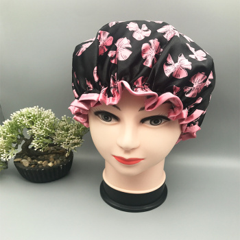 印花双层防水浴帽洗漱化妆帽防油防油烟沐浴帽子厂家直销2色一对