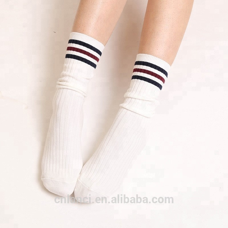 Hot sell new style fine cotton fashionable three bars teen girls tube socks