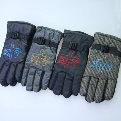 The New winter fleece and thick cotton embroidered word men 's gloves is suing cycling wind - proof and cold mantra warm working gloves