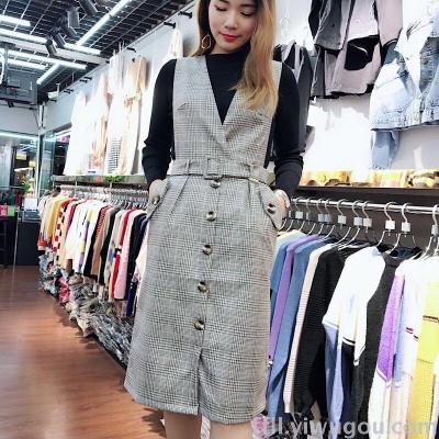 New autumn women's sweater long sleeve plaid vest vest vest two - piece suit