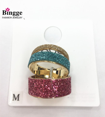 Three for a set of multicolored sparkle ring ring