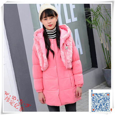 The 2018 autumn and winter style vest with cap and two pieces of women's clothes for children only make the export order