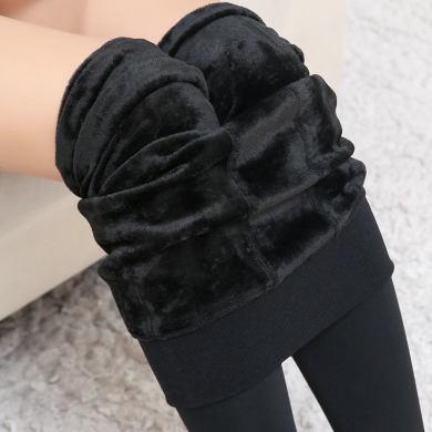 秋冬珍珠絨打底褲加絨加厚高腰無縫一體褲高彈保暖褲貨源