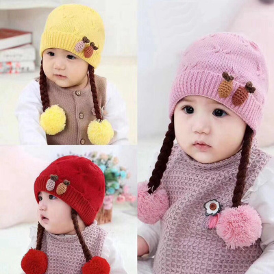 Baby cap with cotton sweatcloth lined with autumn and winter princess double ball cap