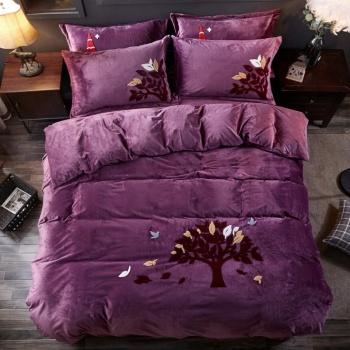 ywxuege水晶绒精美四件套 冬日保暖床上用品发财树紫