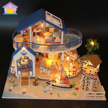 厂家直销弘达创意款diy玩具蓝海传说跨境木制闪光迷你小房子拼装