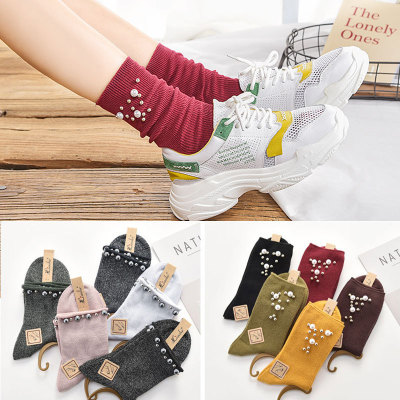 New socks female autumn winter Japan and Korea pearl cotton socks vertical bar curl edge double needle pile vintage high
