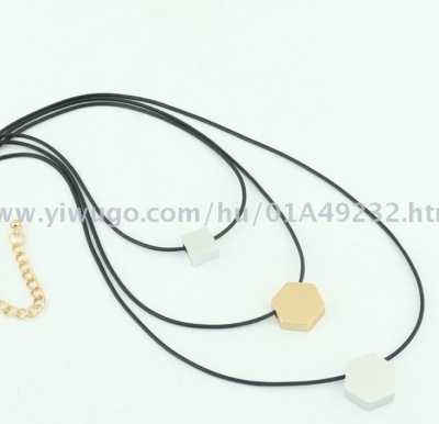 New multi-layer pendant necklace chain leather string sweater fashion stainless jewelry manufacturers direct