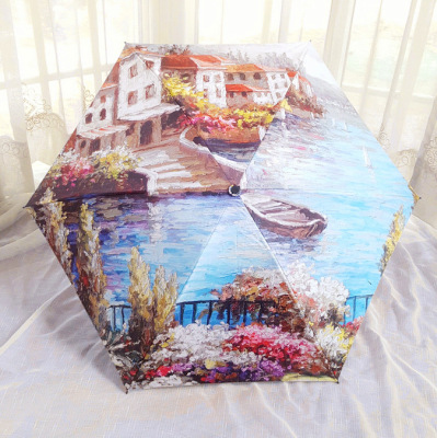 Umbrella  wholesale aesthetic sun protection folding umbrella full version of digital printing oil painting two umbrella