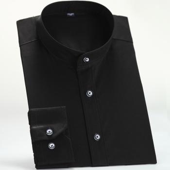 官人春装新款 男士立领衬衫气质圆领长袖商务衬衣中华领纯白色