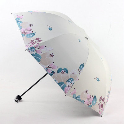 New creative vinyl parasol sun small black umbrella folding sun umbrella three fold sen department small fresh umbrella