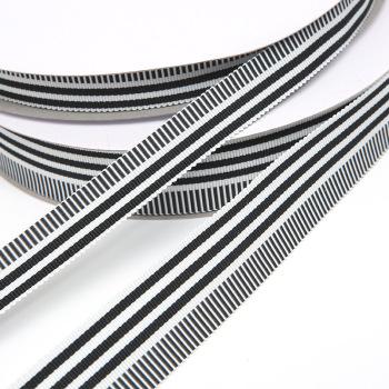 韩国亚光涤纶帽带 黑白间色织带1.5cm/2.5cm螺纹织带现货厂家批发